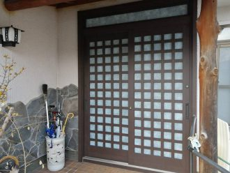 リシェント引戸 柿渋 和紙調のガラス (2)